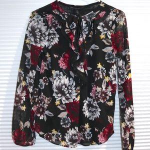 WHBM tie neck blouse